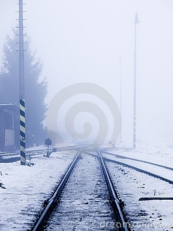 Railroad in smog