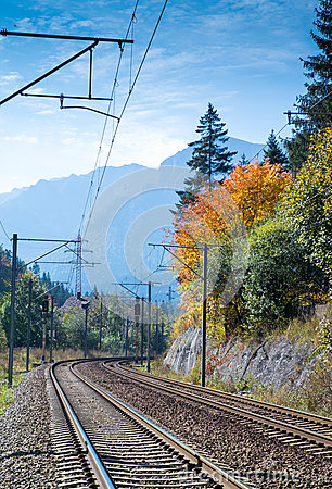 Free Railroad To The Mountains Stock Photography - 45355382