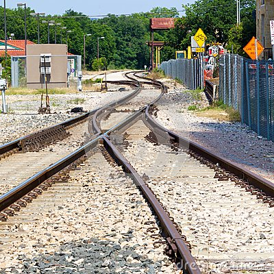 Free Railroad Track Junction And Curves And Switches Royalty Free Stock Photography - 106700427