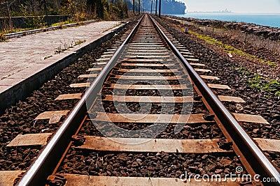 Railroad track near sea beach