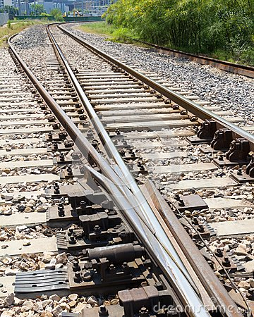 Free Railroad Track Switch Closeup From Above Royalty Free Stock Image - 106566466