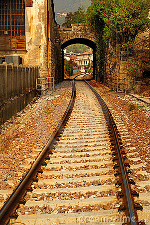 Railroad tracks and archway