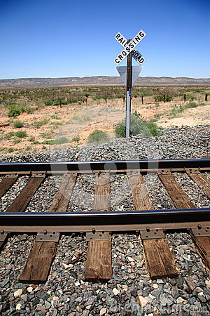 Railroad Tracks and Crossing Sign