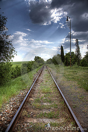 Railroad tracks in nature