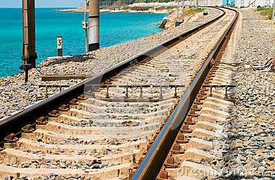 Railroad tracks near the sea