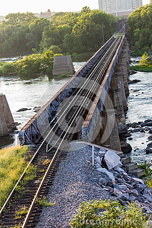 Free Railroad Tracks Over A Raging River Stock Image - 26067071
