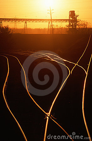 Railroad tracks at sunset, MO