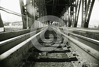 Railroad tracks on train bridg