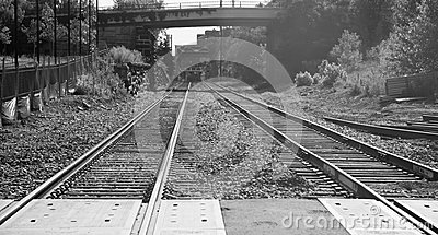 Railroad Tracks Under and then Over a Bridge