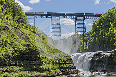 Railroad Trestle & Upper Falls At Letchworth State Park