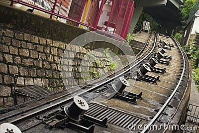 Rails of peak tram