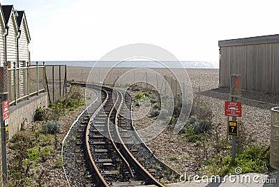 Railway on beach at Brighton. Sussex. UK