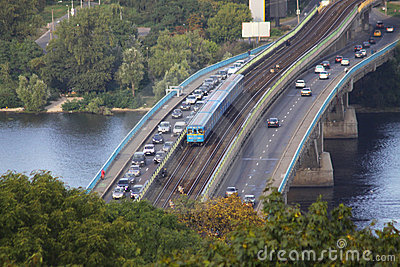 Railway bridge in Kyiv, Ukraine