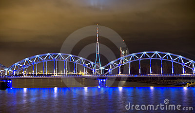 Railway bridge  at night in Riga