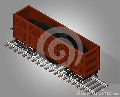 Vector isometric illustration of open rail car for transportation of
