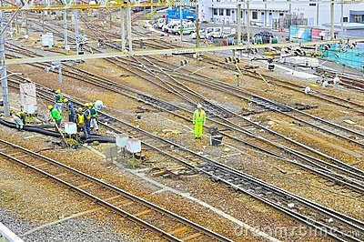 Railway construction Editorial Stock Image