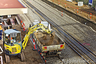 Railway construction underway Editorial Photo