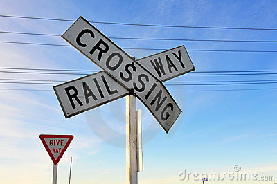 Railway crossing & give way sign