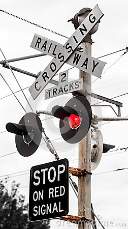 Railway Crossing Signs with Red Flashing Signal