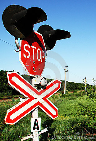 Free Railway Crossing Stop Sign Stock Photography - 21056322