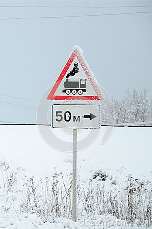 Free Railway Crossing Without Barrier. A Road Sign Depicting An Old Black Locomotive, Located In A Red Triangle Stock Photography - 117259352