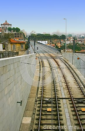 Railway at Dom Luis Bridge in Porto, Portugal