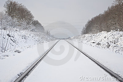 The Railway. Fresh White Snow. Royalty Free Stock Photography - Image: 12695877