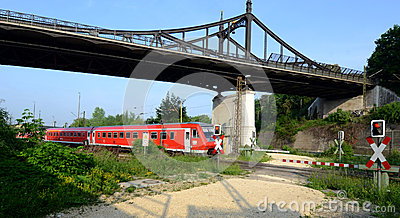 Railway and level crossing Editorial Image