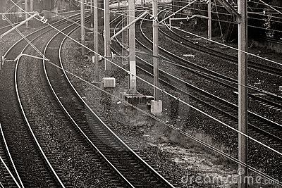 Railway lines in black and white