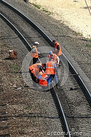 Railway repair Editorial Stock Image