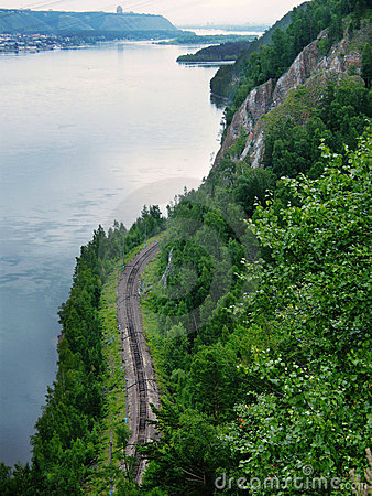 Railway runs along the river