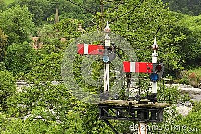 Railway signals, Llangollen, Wales