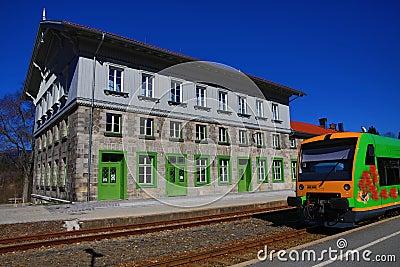 Railway station Bayerisch Eisenstein - Alžbětín, ski resort, Bohemian Forest (Šumava), Germany - Czech Stock Photo