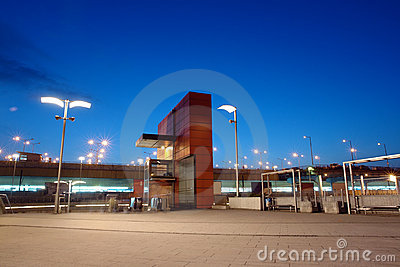 Railway station entrance by night