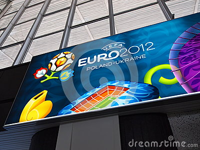 Railway Station and Euro 2012 Banner in Warsaw Editorial Image