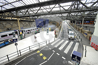 Railway Station interior and car road Editorial Stock Image