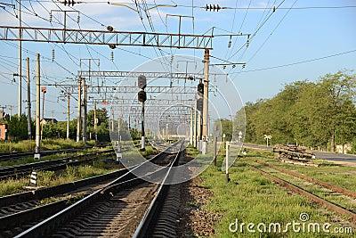 A railway station.