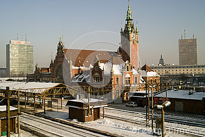 Railway station and train. Editorial Stock Photo