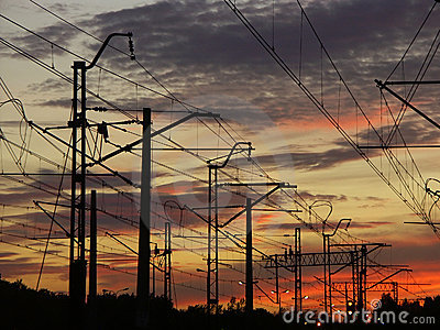 Railway system against the sunset sky