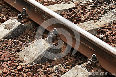 Railway track details closeup