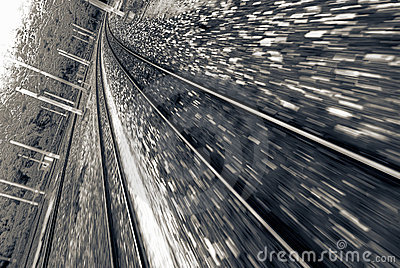 Railway track with high speed motion blurred