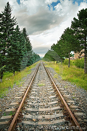 Railway track in perspective