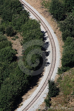 Railway tracks bend