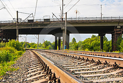 Railway tracks and bridge