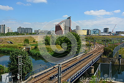 Urban Railway track Editorial Stock Image