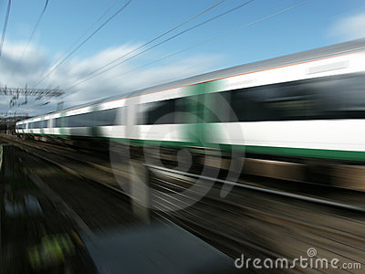 Railway train at speed