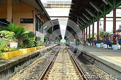 Railway on Train Station Editorial Photo