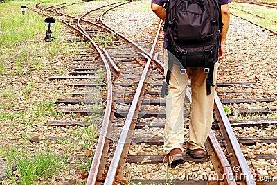 Railway and traveler
