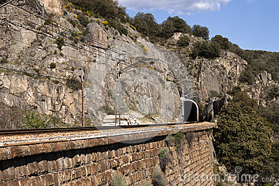 Railway tunnel and wall in mountain.