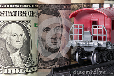 Railway wagon and U.S. money